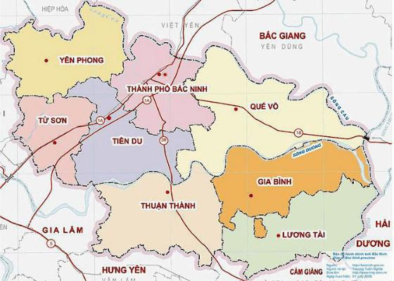 bản đồ tỉnh Bắc Ninh